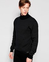 Brave Soul Roll Neck Sweater in Rib