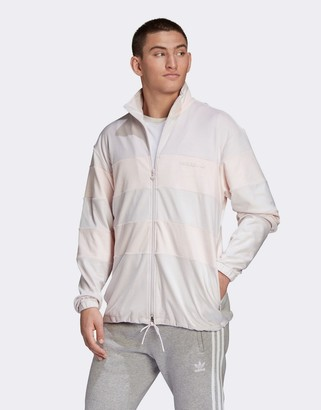 adidas velour track jacket in pink