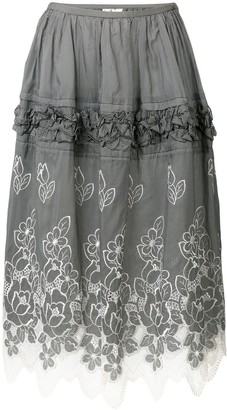 Comme Des Garçons Pre Owned Floral Embroidery Skirt