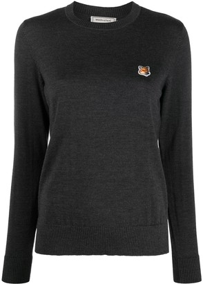 MAISON KITSUNÉ Long-Sleeved Embroidered Logo Sweater