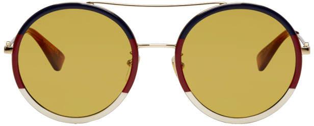 Gucci Multicolor Web Block Pilot Sunglasses