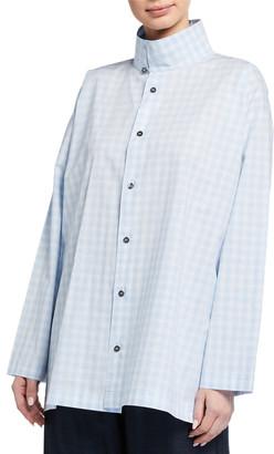eskandar Slim Gingham A-Line Shirt