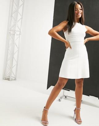 Lipsy lace top skater dress in white