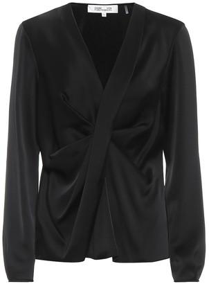 Diane von Furstenberg Muriel satin wrap-front top