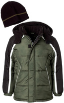 iXtreme Olive Color Block Puffer Coat & Beanie - Toddler & Boys