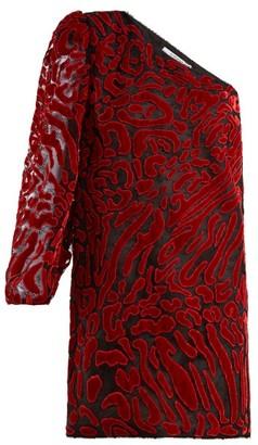 Givenchy Asymmetric Velvet Devore Mini Dress - Red