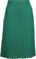 Missoni Metallic pintucked crochet-knit skirt
