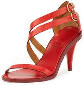 Chloé Double-Strap 80mm Sandal, Hot Coral