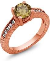 Gem Stone King 1.42 Ct Round Whiskey Quartz White Diamond 14K Rose Gold Engagement Ring