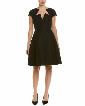 Halston Women's Cape Sleeve Notched Neck Silk Faille Dress