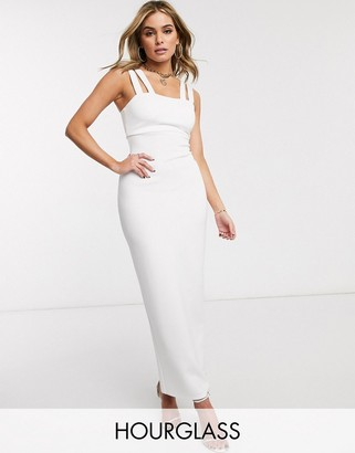 ASOS DESIGN Hourglass double strap square neck maxi dress in white