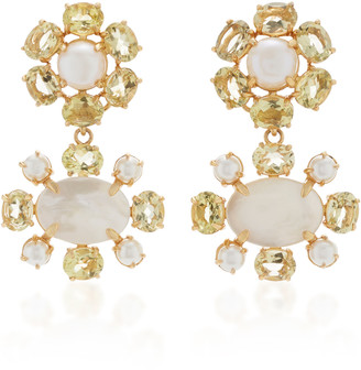 Bounkit Earrings Set with Lemon Quartz, White Pearls and Mother of Pea