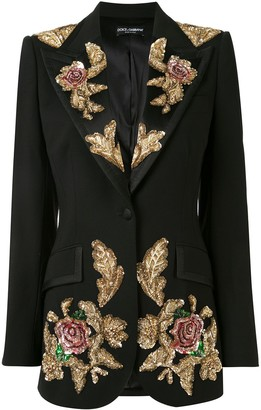 Dolce & Gabbana Sequin Rose Applique Jacket