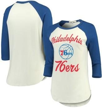 Junk Food Clothing Unbranded Women's Cream/Royal Philadelphia 76ers Fashion Liberty Raglan 3/4-Sleeve T-Shirt
