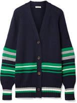 Miu Miu Oversized Striped Wool Cardigan - Navy