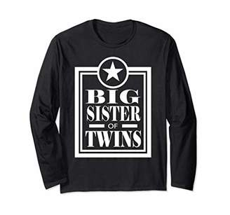 Big Sister Of Twins Long Sleeve T-Shirt Older Sister Gift