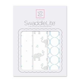 Swaddle Designs Marquisette Swaddle Blankets, Premium Cotton Muslin, SwaddleLite Set of 3, Mod Elephants, Pastel Blue