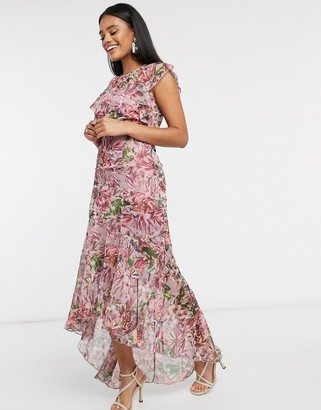 Little Mistress fishtail maxi in floral