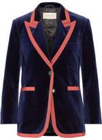 Gucci Grosgrain-trimmed Velvet Blazer - Navy