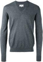 Maison Margiela elbow patch v-neck jumper - men - Cotton/Calf Leather/Wool - S