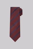 Moss Esq. Wine & Navy Stripe Silk Tie