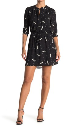 Feather Dot Print 3/4 Sleeve Dress