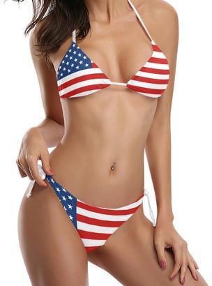 COOSUN Women's American Flag Bikini Swimsuit Tie Side Padded Bikini Swimwear Two Pieces Bathing Suit XS