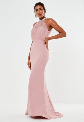 Missguided Blush Diamante Organza Halterneck Maxi Bridesmaid Dress
