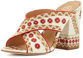 Ash Adel Embroidered Crisscross Slide Sandal, Off White/Coral