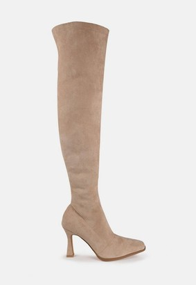 Missguided Sand Faux Suede Feature Heel Over The Knee Boots