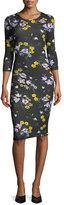 Erdem Allegra 3/4-Sleeve Floral Dress