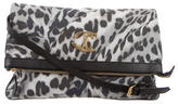Just Cavalli Leopard Print Canvas Crossbody Bag