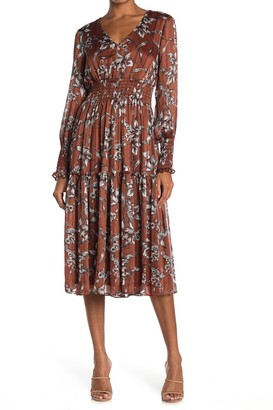 Taylor Floral Midi Smocked Chiffon Dress