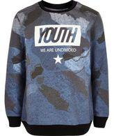 River Island Boys blue 'Youth' print sweatshirt