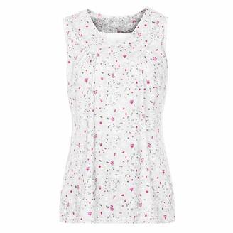 Toamen Women's Vest Tops Sale Casual Plus Size Floral Print V-Neck Blouse Sleeveless Loose Tank Pullover T Shirt(White 14)