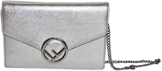 Fendi Kan I Logo Metallic Leather Handbags