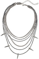 King Baby Studio Multi Layered Necklace w/ Hematite, Silver Chain Spikes Necklace