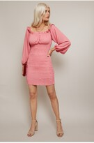 Thumbnail for your product : Little Mistress Lacey Hot Pink Bardot Mini Dress With Shirred Hem