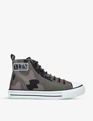 Valentino Giggies camouflage-print mesh high-top trainers
