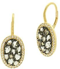 Freida Rothman Rose d'Or Pave Cluster Drop Earrings