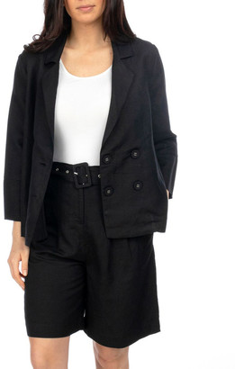 PINGPONG 3/4 Sleeve Double Breasted Crop Jacket