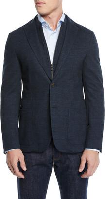Corneliani Men's Knit Prince of Wales Blazer