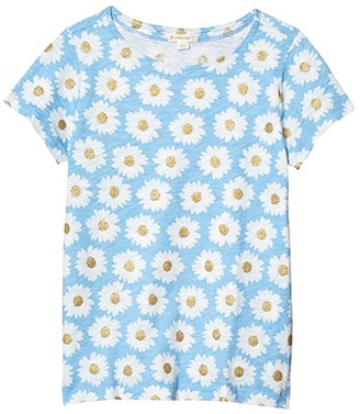 crewcuts by J.Crew Short Sleeve Allover Daisy Tee (Toddler/Little Kids/Big Kids) (Blue/Gold) Girl's Clothing