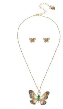 Betsey Johnson Butterfly Pendant Stud Earrings Set