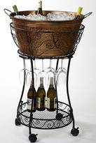 Hammered Faux-Copper Beverage Tub and Stand