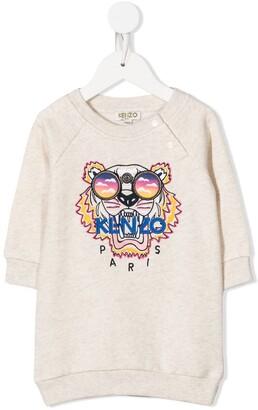 Kenzo Kids Tiger-embroidered sweatshirt dress