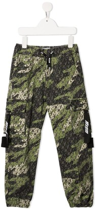 Msgm Kids Army Print Cargo Pants