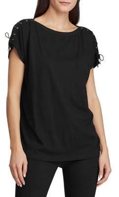 Lauren Ralph Lauren Lace-Up Cotton Blend Top
