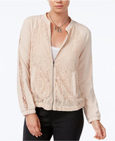 Bar III Lace Bomber Jacket, Only at Macy's