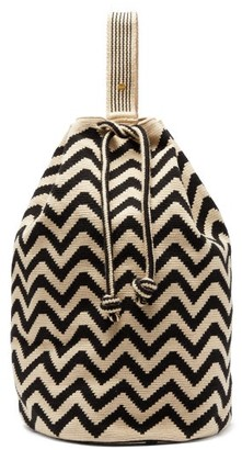 Guanabana - Tula Zigzag-woven Backpack - Black White